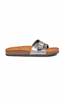 Women's  EVA Narrow Fit Buckle Sandal Silver_2