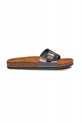 Women's  EVA Narrow Fit Buckle Sandal Silver_3