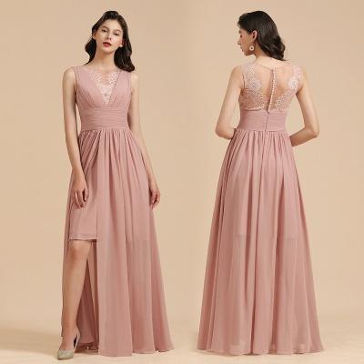 Halter Ruffle Chiffon Aline Bridesmaid Dress Wedding Party Dress_11