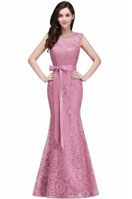 Bowknot-Sash Lace Floor-Length Burgundy Sleeveless Mermaid Prom Dress UKes UK_1