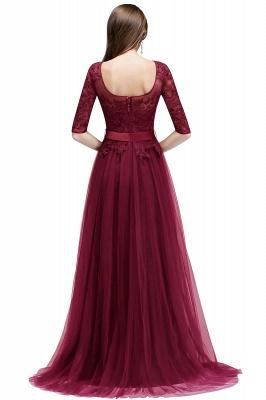 NANA | A-line Half Sleeves Floor Length Slit Appliqued Tulle Prom Dresses with Sash_2