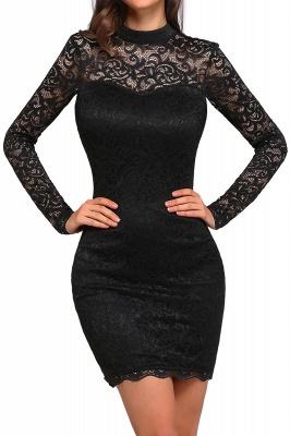 Short Black Long-Sleeves Lace High-Neck Party Dress UK_1