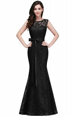 Bowknot-Sash Lace Floor-Length Burgundy Sleeveless Mermaid Prom Dress UKes UK_5