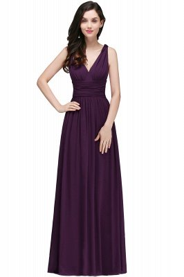 V-Neck Ruched Chiffon A-line Burgundy Evening Dress UKes UK_4