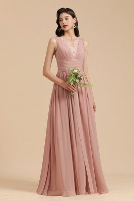 Halter Ruffle Chiffon Aline Bridesmaid Dress Wedding Party Dress_4