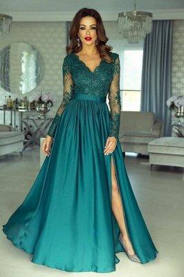 Elegant Green Long Sleeves Satin Lace Evenign Dress with Side Split