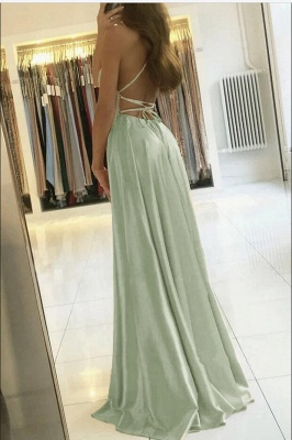 Spaghetti Straps Mint Green Satin Long Evening Dress with Side Split_2