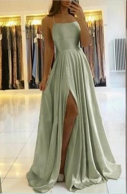 Spaghetti Straps Mint Green Satin Long Evening Dress with Side Split_3