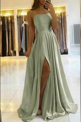 Spaghetti Straps Mint Green Satin Long Evening Dress with Side Split