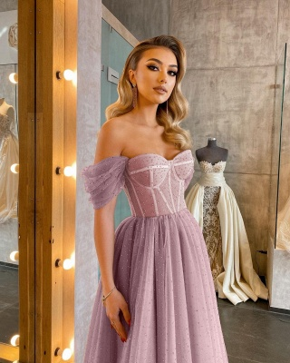 Boho Sparkly Sequins Soft Tulle Party Dress Off Shoulder Cocktail Formal Dresses_10
