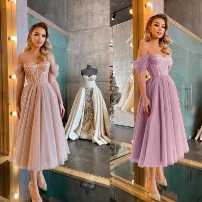 Boho Sparkly Sequins Soft Tulle Party Dress Off Shoulder Cocktail Formal Dresses_4