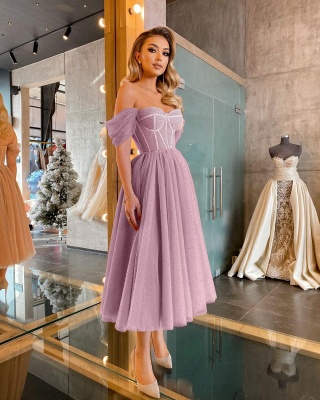 Boho Sparkly Sequins Soft Tulle Party Dress Off Shoulder Cocktail Formal Dresses_2