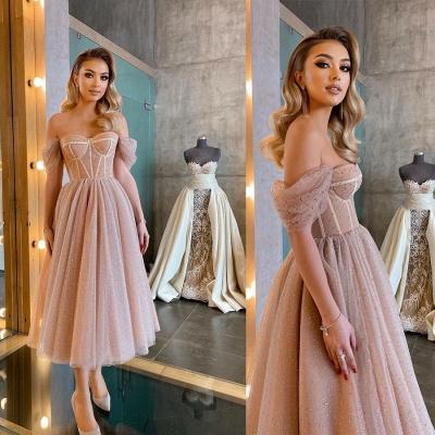 Boho Sparkly Sequins Soft Tulle Party Dress Off Shoulder Cocktail Formal Dresses_5