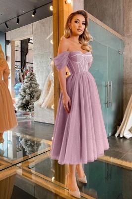 Boho Sparkly Sequins Soft Tulle Party Dress Off Shoulder Cocktail Formal Dresses