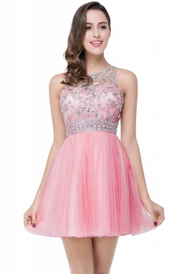 Sexy Beadings Crystal Short Prom Dress UK Chiffon Homecoming Gown_1