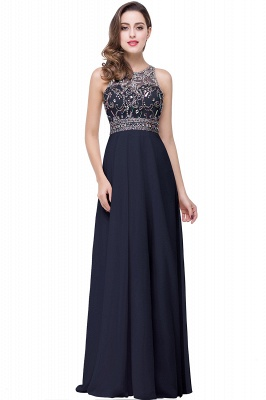 Chiffon Sleeveless Light-Champagne Long Crystals Prom Dress UKes UK BA6131_3