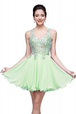 Elegant V-neck Sleeveless Chiffon Short Homecoming Dress UK With Beadings Crystals_6