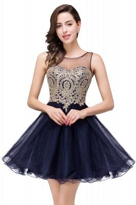 Sleeveless Appliques Elegant Black Tulle Homecoming Dress UK_5
