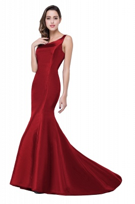 Elegant Burgundy One Shoulder Mermaid Prom Dress UK With Train_2