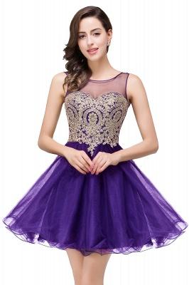 Sleeveless Appliques Elegant Black Tulle Homecoming Dress UK_2