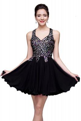 Elegant V-neck Sleeveless Chiffon Short Homecoming Dress UK With Beadings Crystals_5