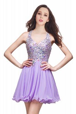 Elegant V-neck Sleeveless Chiffon Short Homecoming Dress UK With Beadings Crystals_2