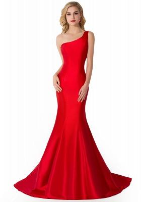 Elegant Burgundy One Shoulder Mermaid Prom Dress UK With Train_1