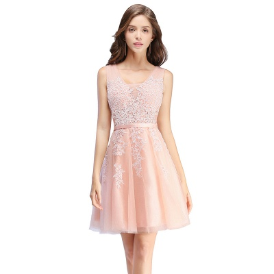 Beautiful Sleeveless lace-up Short homecoming Dress UK Lace Appliques Tulle BA3782_1