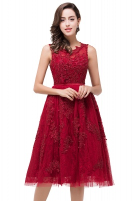 Gorgeous Burgundy Sleeveless Short Prom Dress UK Tulle Appliques Online_1