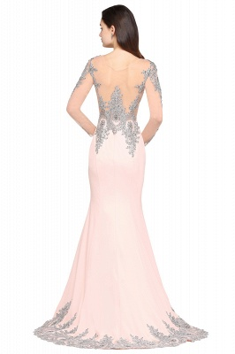 ARELY | Mermaid Sweep Train Pink Elegant Evening Dresses with Appliques_5