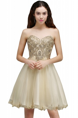 Lovely Sweetheart Short Appliques Lace-Up Homecoming Dress UK_2