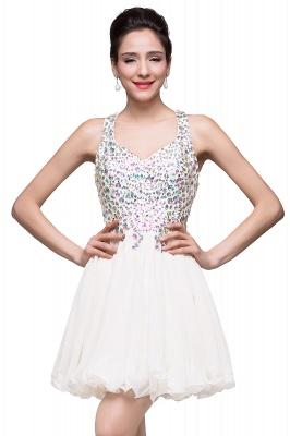 Elegant V-neck Sleeveless Chiffon Short Homecoming Dress UK With Beadings Crystals_1