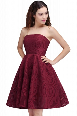 Short Simple Strapless Sleeveless Burgundy A-line Homecoming Dress UK_1