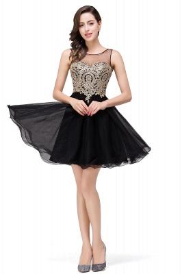 Sleeveless Appliques Elegant Black Tulle Homecoming Dress UK_6