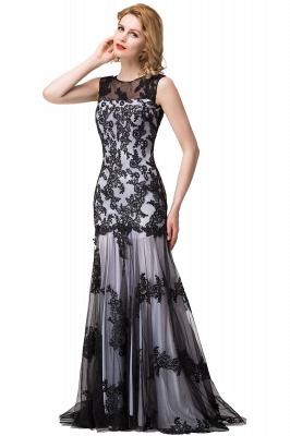 DANIELA | Scoop Neck Mermaid Black lace Applique Evening Prom dresses_10