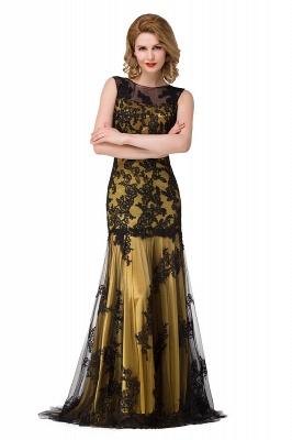 DANIELA | Scoop Neck Mermaid Black lace Applique Evening Prom dresses_4