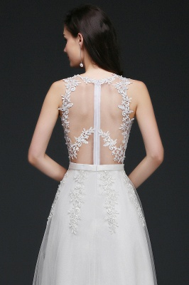 AMARI | A-Line Jewel Floor Length Tulle Wedding Dresses with Lace_9