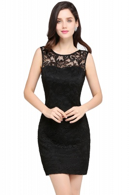 Back-Zipper Sheath-Column Lace Short-Mini Scoop-neckline Cocktail Dress UK_5