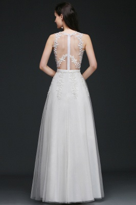 AMARI | A-Line Jewel Floor Length Tulle Wedding Dresses with Lace_3