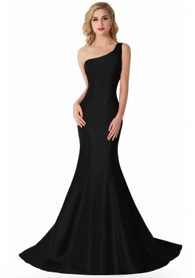 Elegant Burgundy One Shoulder Mermaid Prom Dress UK With Train_4