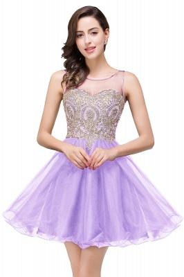 Sleeveless Appliques Elegant Black Tulle Homecoming Dress UK_3