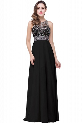 Chiffon Sleeveless Light-Champagne Long Crystals Prom Dress UKes UK BA6131_3