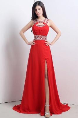 Modern Crystals A-line Front-Split Chiffon Prom Dress UK_1