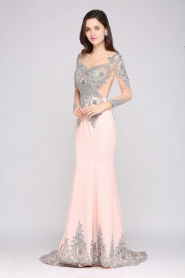 ARELY | Mermaid Sweep Train Pink Elegant Evening Dresses with Appliques_7