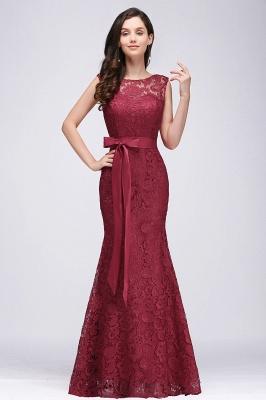 Bowknot-Sash Lace Floor-Length Burgundy Sleeveless Mermaid Prom Dress UKes UK_2