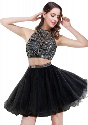 Gorgeous Halter Sleeveless Short Homecoming Dress UK With Crystals_3