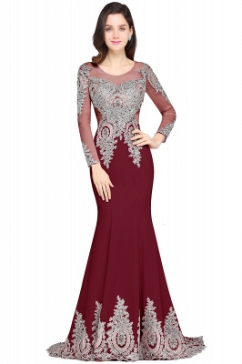 ARELY | Mermaid Sweep Train Pink Elegant Evening Dresses with Appliques_2