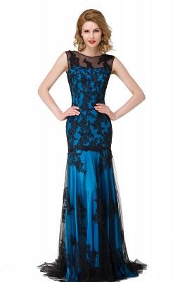 DANIELA | Scoop Neck Mermaid Black lace Applique Evening Prom dresses_5