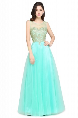 ARIA | A-line Scoop Tulle Gorgeous Evening Dresses with Appliques_8