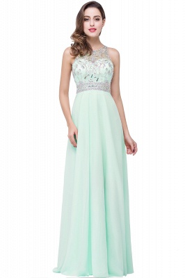 Chiffon Sleeveless Light-Champagne Long Crystals Prom Dress UKes UK BA6131_4